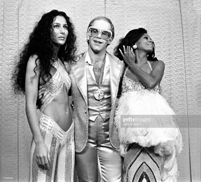 Cher, Elton John and Diana Ross at Rock Awards Santa Monica Civic Auditorium 1975; Various Locations; Mark Sullivan 70's Rock Archive (Photo by Mark Sullivan/Contour by Getty Images)