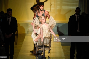 PARIS, FRANCE - JANUARY 25: Coco Rocha and Jhon Burjack walk the runway during the Jean Paul Gaultier Spring Summer 2017 show as part of Paris Fashion Week on January 25, 2017 in Paris, France. (Photo by Peter White/Getty Images)