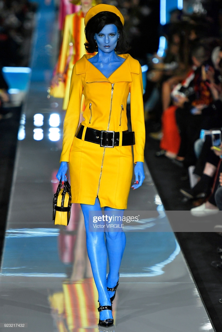 MILAN, ITALY - FEBRUARY 21: A model walks the runway at the Moschino Ready to Wear Fall/Winter 2018-2019 fashion show during Milan Fashion Week Fall/Winter 2018/19 on February 21, 2018 in Milan, Italy. (Photo by Victor VIRGILE/Gamma-Rapho via Getty Images)
