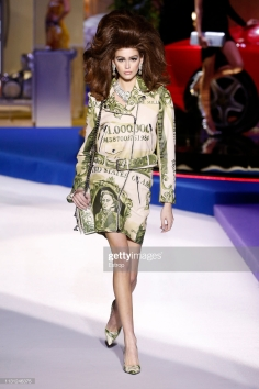 MILAN, ITALY - FEBRUARY 21: Model Kaia Gerber walks the runway at the Moschino show at Milan Fashion Week Autumn/Winter 2019/20 on February 20, 2019 in Milan, Italy. (Photo by Estrop/Getty Images)